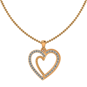 Golden Frame Heart Diamond Pendant