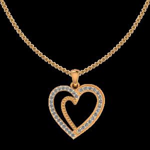 Golden Frame Heart Diamond Pendant