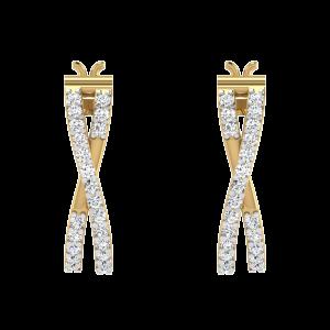 Crossover Trend Diamond Hoop Earrings
