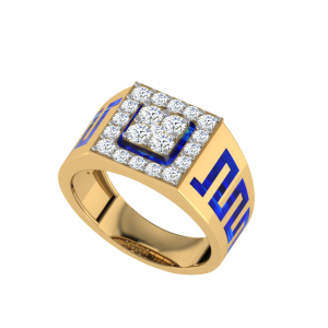The Charles Men`s Diamond Ring W/ Enamel