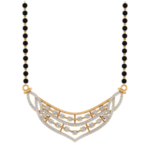 Designer Mangalsutra With Black Beads Gold Chain