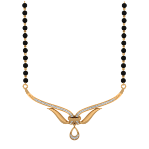 Delightful Mangalsutra With Black Beads Gold Chain