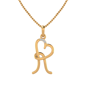 Letter R Heart Diamond Pendant