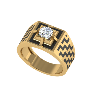 The Theoderic Men`s Diamond Ring W/ Enamel