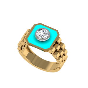 The Diodotus Men`s Diamond Ring W/ Enamel