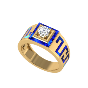The Tigranes Men`s Diamond Ring W/ Enamel
