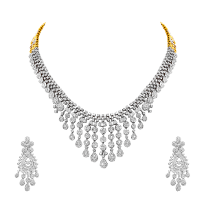 Designer Gold & Diamond Bib Statement Necklace Set