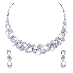 Bridal Gold & Diamond Necklace Set With Oval Motifs