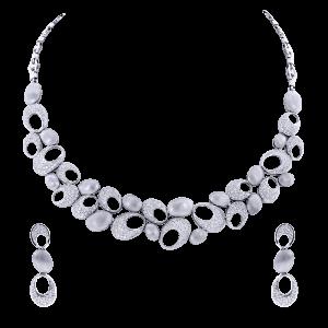 Bridal Gold & Diamond Necklace Set With Oval Motifs