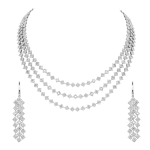 Bridal Gold & Diamond Three Liner Necklace Set