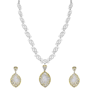 Designer Gold & Diamond Filigree Necklace Set