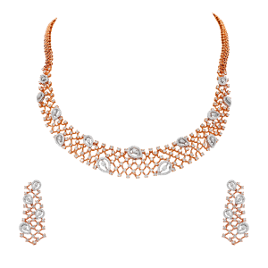Designer Gold & Diamond Necklace Set With Pear Motifs