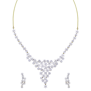 Designer Gold & Diamond Necklace Set With Floral & Round Motifs