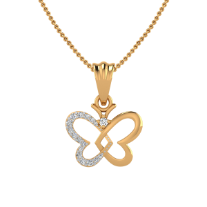 The Butterflies Heart Diamond Pendant