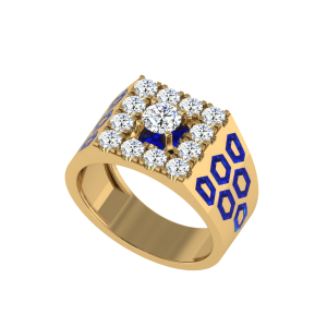 The Darius Men`s Diamond Ring W/ Enamel
