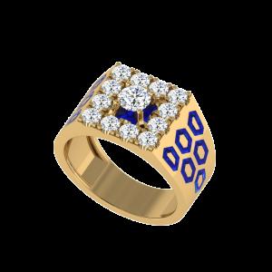 The Darius Men`s Diamond Ring W/ Enamel
