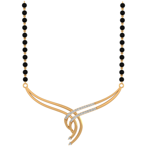 Weavy Way Mangalsutra With Black Beads Gold Chain