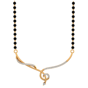 The Venus Mangalsutra With Black Beads Gold Chain