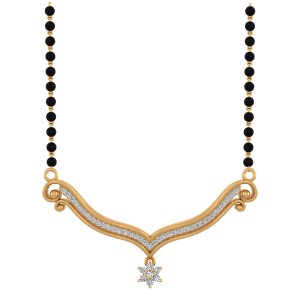 Classic Star Mangalsutra With Black Beads Gold Chain
