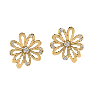 Wear A Work Of Art Floral Diamond Stud Earrings