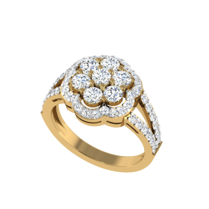 "Whopping ""2"" Carats Floral Diamond Ring"