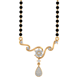 Golden Assemblage Mangalsutra With Black Beads Gold Chain