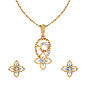 Floral Devour Diamond Pendant Set