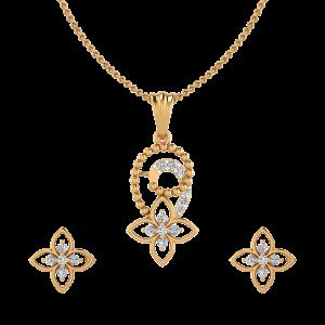 Floral Devour Diamond Pendant Set
