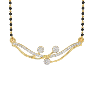Glamorous Mangalsutra With Black Beads Gold Chain