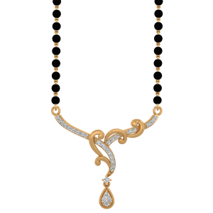 Heavenly Mangalsutra With Black Beads Gold Chain