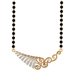 Stunning Mangalsutra With Black Beads Gold Chain