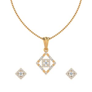 Geometrical Fit Diamond Pendant Set