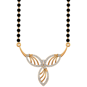 Golden Demure Mangalsutra With Black Beads Gold Chain