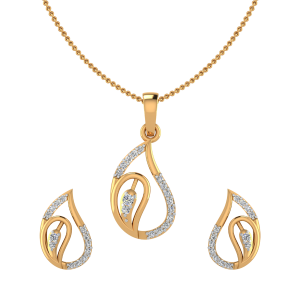 Paisley Drop Diamond Pendant Set