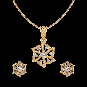 Floral Bands Diamond Pendant Set