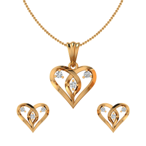 Heart Panache Diamond Pendant Set