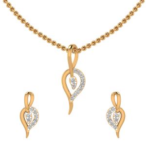 Falling Leaf Diamond Pendant Set