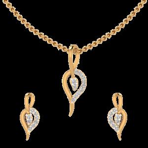 Falling Leaf Diamond Pendant Set