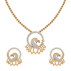Fluffy Peacock Diamond Pendant Set