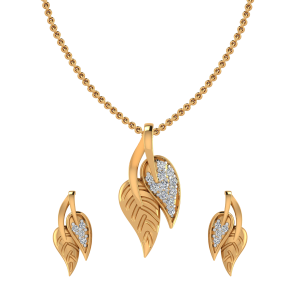 The Leafy Art Diamond Pendant Set