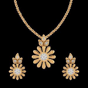 Sunrise Bloom Diamond Pendant Set