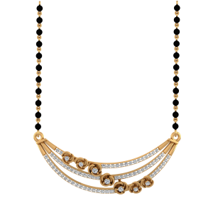 Floral Bunch Mangalsutra With Black Beads Gold Chain