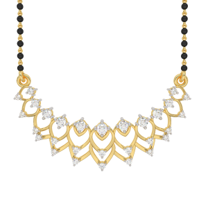 The Pavonian Mangalsutra With Black Beads Gold Chain