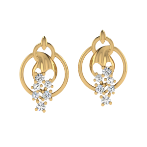 Dew On The Tip Diamond Stud Earrings