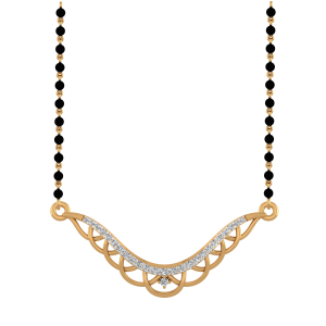 The Beauteous Mangalsutra With Black Beads Gold Chain