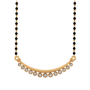 The Asthetics Mangalsutra With Black Beads Gold Chain