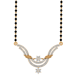 The Divine Pose Mangalsutra With Black Beads Gold Chain
