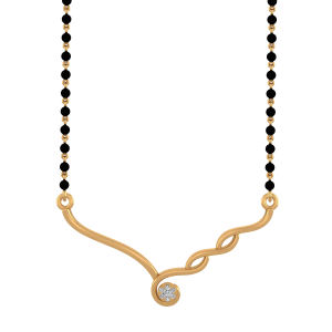 The Golden Wonder Mangalsutra With Black Beads Gold Chain