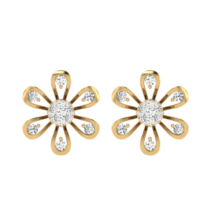 The Floral Sun-flake Diamond Stud Earrings