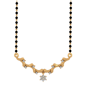 Golden Mache Mangalsutra With Black Beads Gold Chain